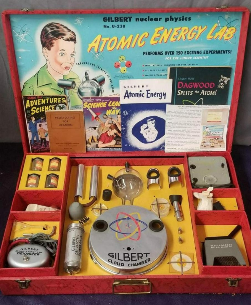 Boxed AC Gilbert 1951 Atomic Energy Lab toy, $3,600