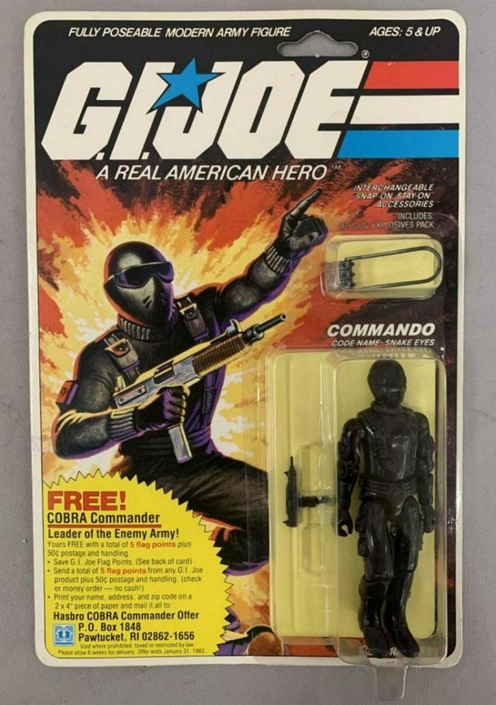 1982 mint-on-card GI Joe Commando Snake Eyes, $7,200