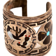 Large sterling and inlay cuff by Dennis Edaakie, $1,437