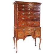 Queen Anne figured maple high chest of drawers, est. $3,000-$3,500
