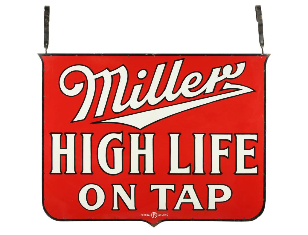 1930s Miller High Life Beer two-sided porcelain hanging sign, est. CA$3,000-$5,000