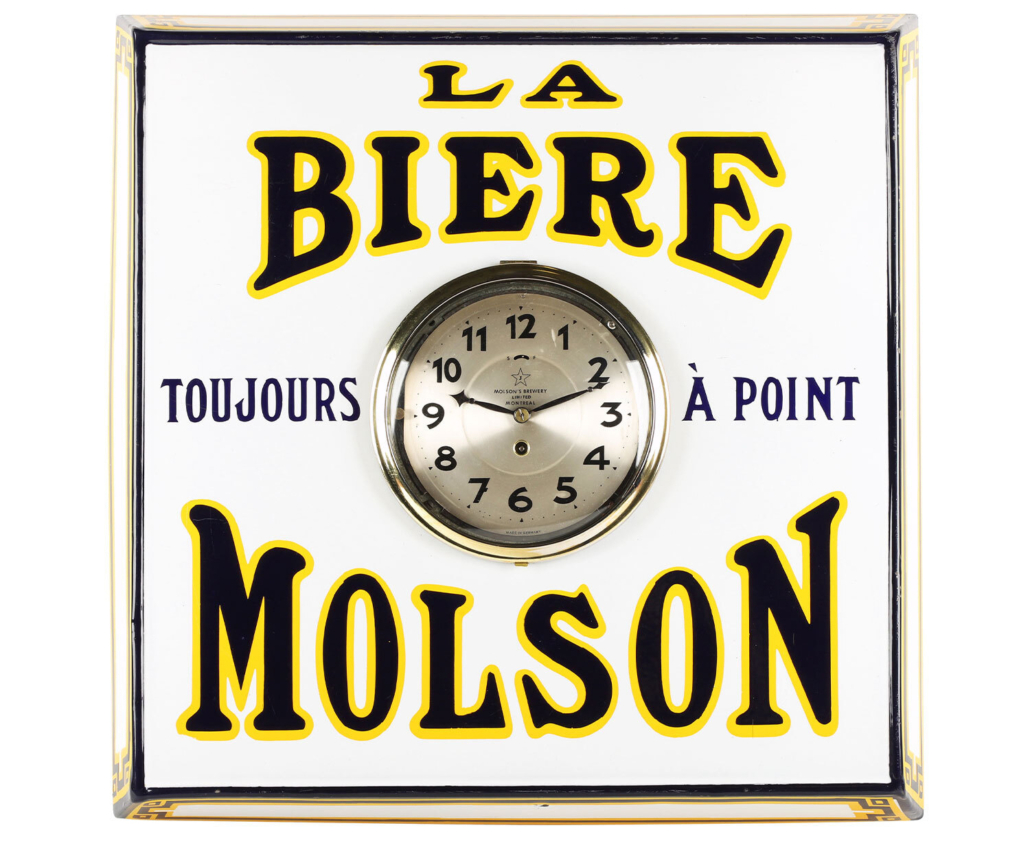 Molson's Beer clock, made for the French-Canadian market in the 1930s, est. CA$4,000-$6,000