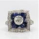 Platinum diamond and sapphire ring, est. $7,000-$8,000