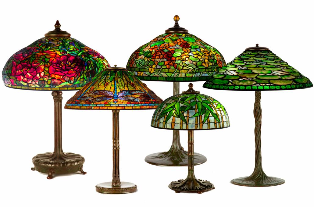 Selection of Tiffany Studios lamps, including a Peony, est. $250,000-$500,000; a Dragonfly, est. $60,000-$80,000; a Nasturtium, est. $70,000-$100,000; a Bamboo, est. $50,000-$80,000; and a Lily pad, est. $60,000-$80,000