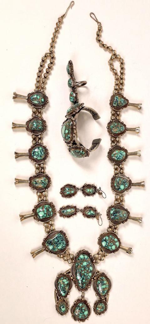 Vintage No. 8 Mine turquoise jewelry set (Navajo Reservation, Arizona), $5,125