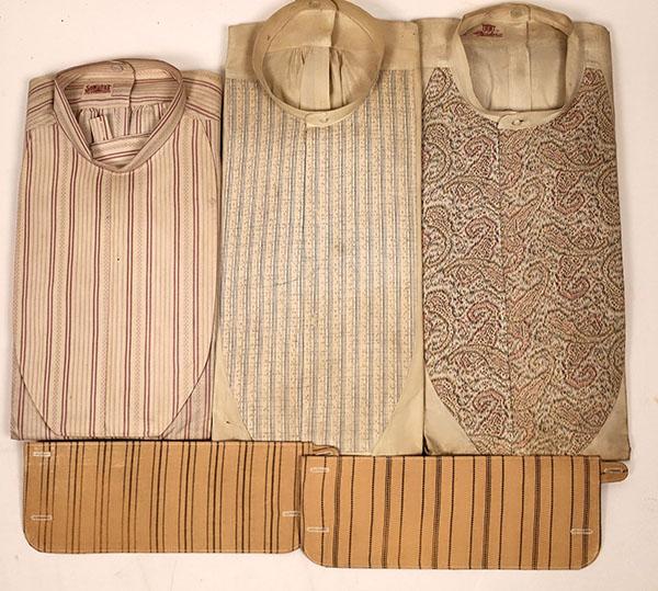 Group of three unused, mint-condition Victorian-era men's shirts, $3,750