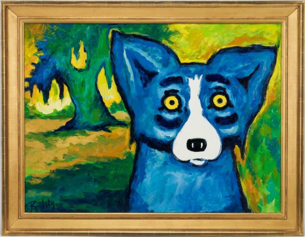 George Rodrigue 'Blue Dog' painting, $90,000