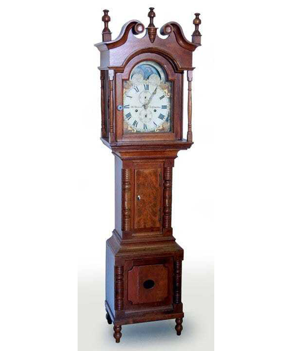 Pennsylvania antiques perform well at Stephenson's. In January 2013, this walnut dwarf clock by Henry Bower attained $27,500 plus the buyer's premium. Photo courtesy of Stephenson's Auction and LiveAuctioneers.