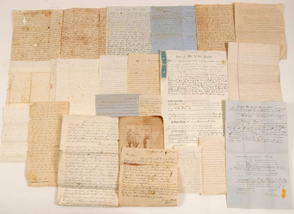 This stack of Mormon, Emigrant Trail and Gold Rush correspondence brought $3,100 plus the buyer's premium in July 2019 at Holabird Western Americana Collections. Photo courtesy of Holabird Western Americana Collections and LiveAuctioneers.