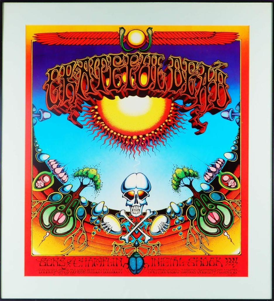 """This Grateful Dead """"Aoxomoxoa"""" Avalon Ballroom concert poster from January 1969 sold for $13,000 plus the buyer's premium in August 2020 in a specialty concert posters auction. Photo courtesy of Stephenson's Auction and LiveAuctioneers."""