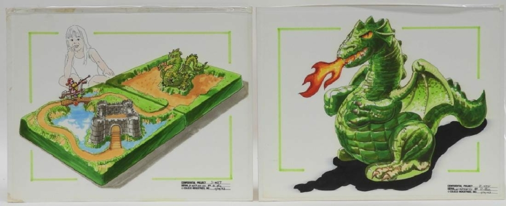 A two-piece 1983 watercolor and ink concept drawing for a Coleco Dungeons & Dragons board game sold for $500 plus the buyer's premium in January 2019 at Bruneau & Co. Auctioneers. Image courtesy of Bruneau & Co. Auctioneers and LiveAuctioneers
