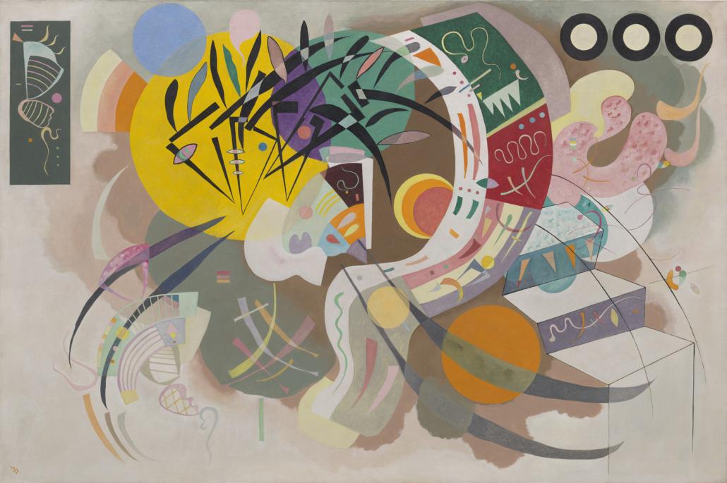 Vasily Kandinsky, 'Dominant Curve (Courbe dominante),' April 1936 (detail). Oil on canvas, 50 7/8 × 76 1/2 inches (129.2 × 194.3 cm). Solomon R. Guggenheim Museum, New York, Solomon R. Guggenheim Founding Collection 45.989