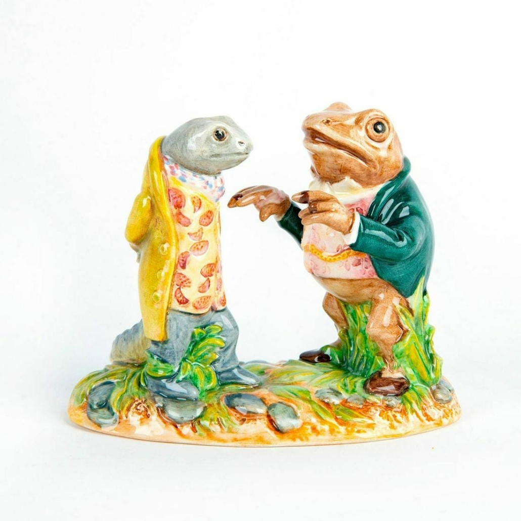 These Royal Doulton prototype figurines of Jeremy Fisher and his friend, Sir Isaac Newton, realized $7,500 plus the buyer's premium in April 2021 at Lion and Unicorn. Photo courtesy of Lion and Unicorn and LiveAuctioneers.