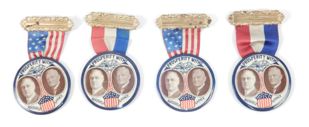 Four Roosevelt/Garner slogan jugate buttons with ribbons sold for $15,000 plus the buyer's premium in September 2019. Photo courtesy of Stephenson's Auction and LiveAuctioneers.