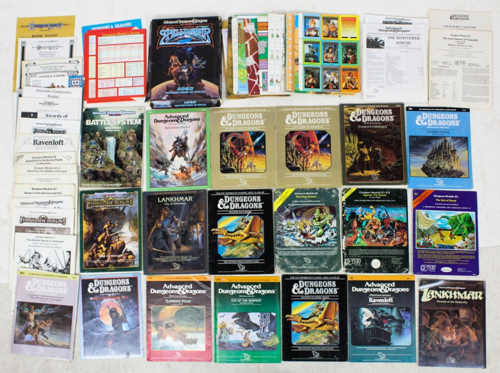 A collection of Dungeons & Dragons gaming modules realized $300 plus the buyer's premium in February 2021 at Merrill's Auctioneers and Appraisers. Image courtesy of Merrill's Auctioneers and Appraisers and LiveAuctioneers
