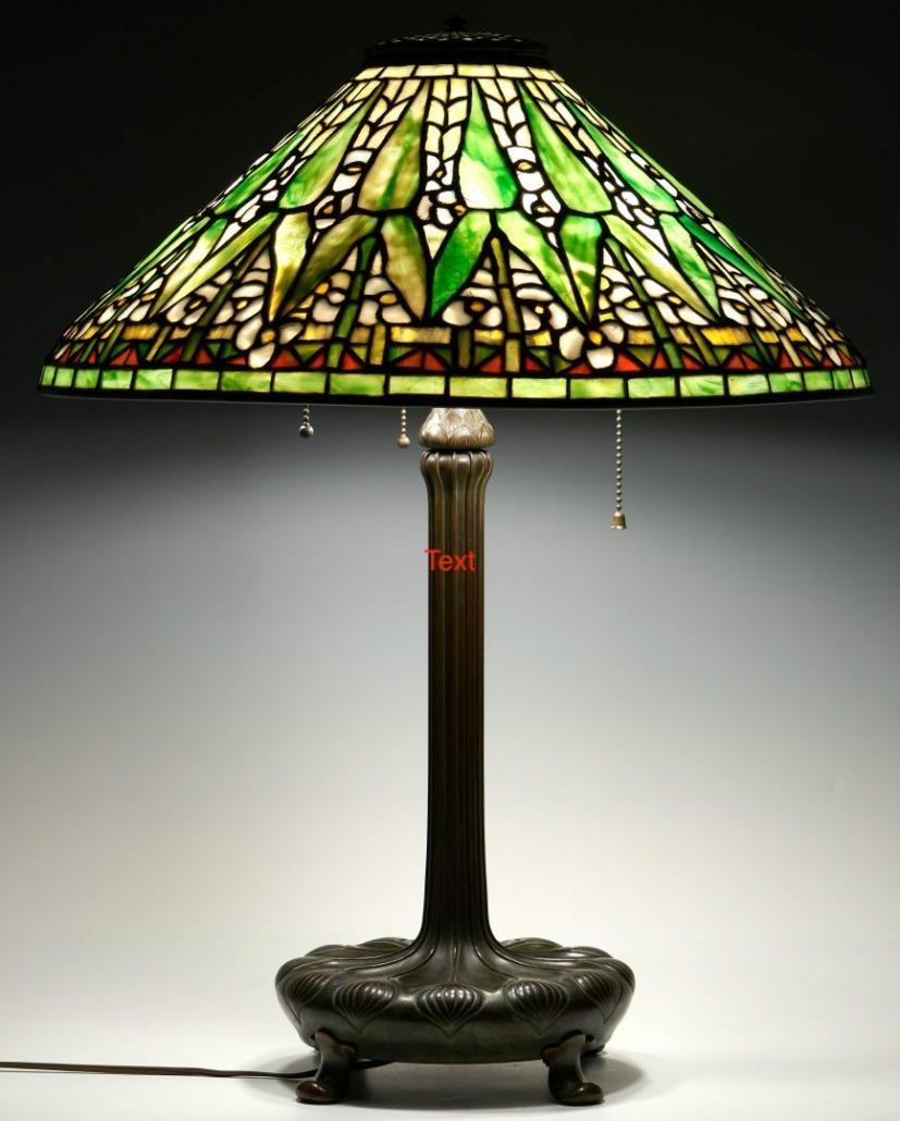 Tiffany Studios lamp with Arrowroot shade, $40,960