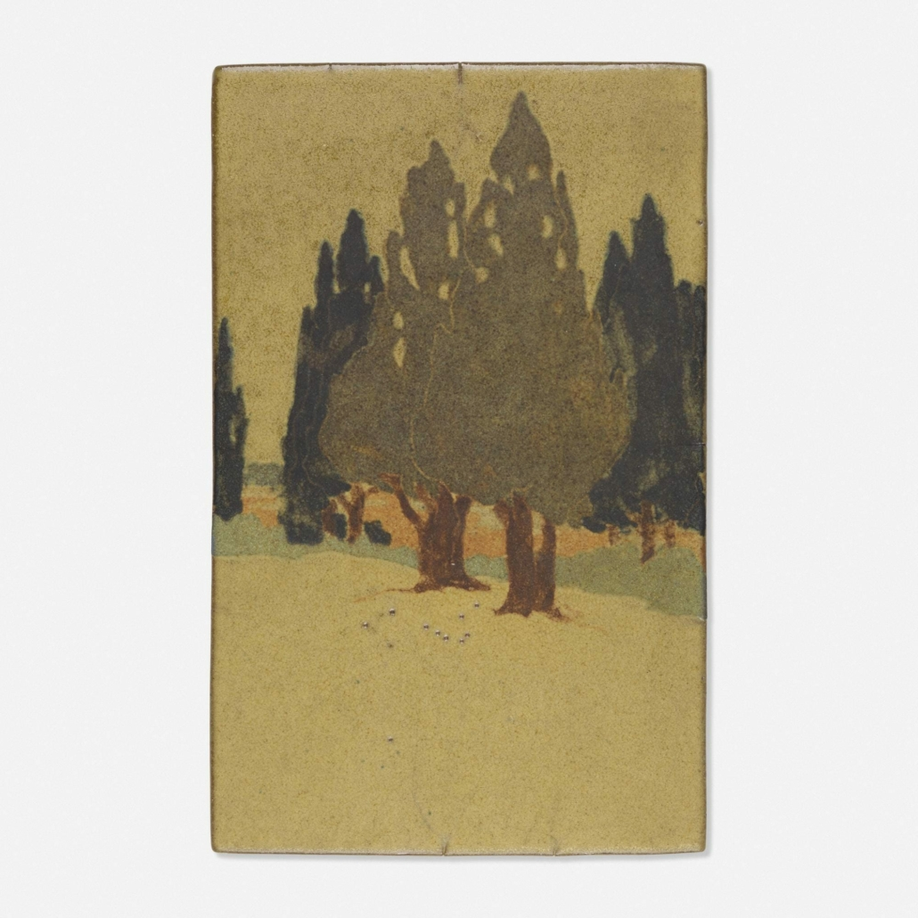 When he helmed Marblehead Pottery, Arthur Baggs took the medium to new heights. His scenic tile of a wooded landscape made $35,000 plus the buyer's premium at Rago Arts and Auction Center in September 2020. Photo courtesy of Rago Arts and Auction Center and LiveAuctioneers.