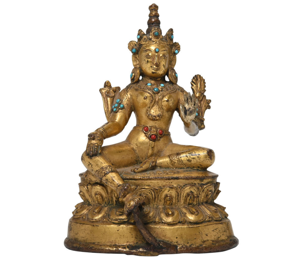 Sino-Tibetan gilt bronze statue of Tara, $4,800