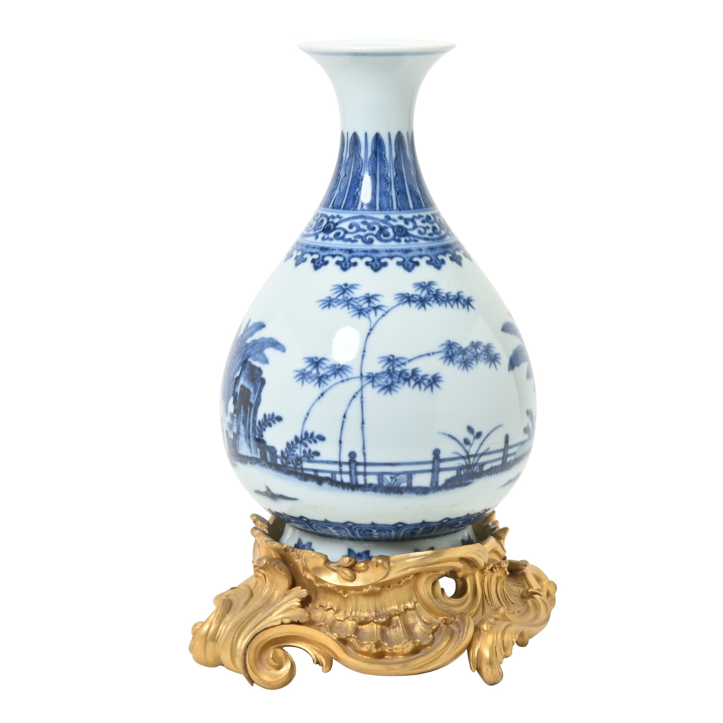 Blue and white yuhuchun vase with Qianlong mark, $30,000