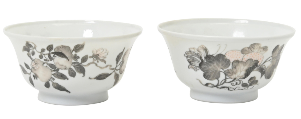 Iron-red, grisaille-decorated Yongzheng Period bowls, $19,200
