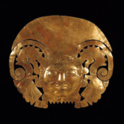 14K gold alloy frontal adornment from an Andean headdress, dating between year 1 and year 800. Photo courtesy of World Heritage Exhibitions