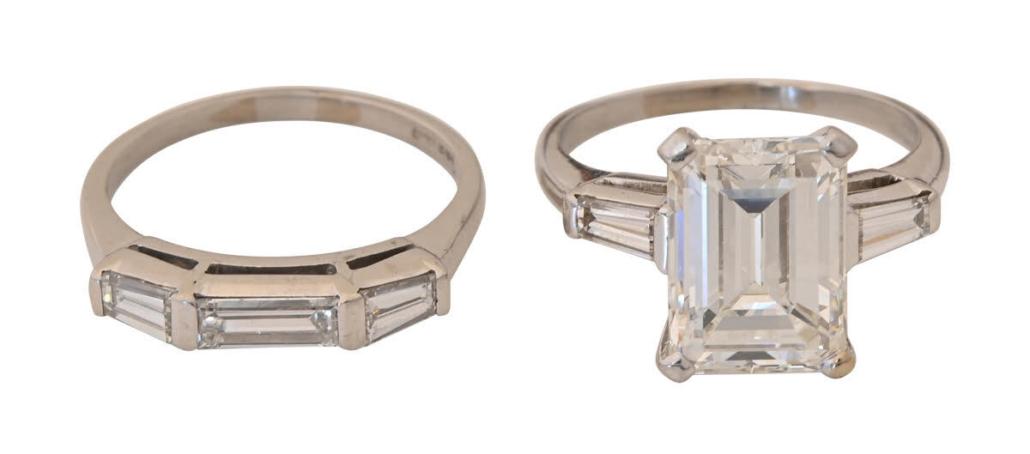 Diamond and platinum ring wedding set, $26,400