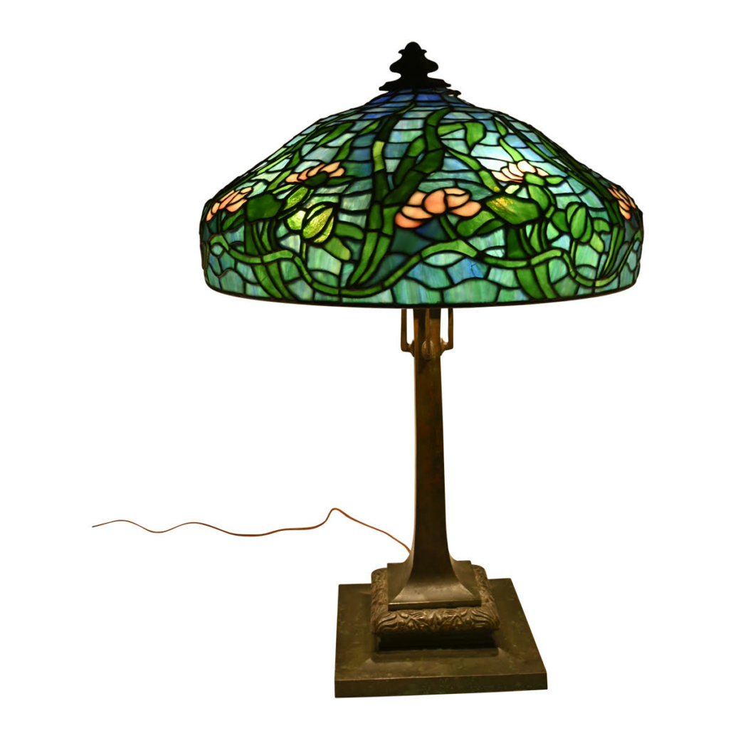 Art Nouveau lead glass lamp shade with base, attributed to the Gorham Mfg. Co., $7,200