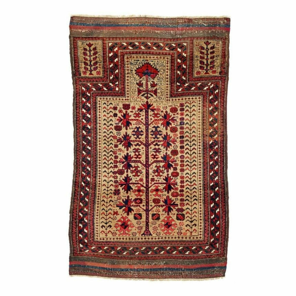 A Head-and-Shoulder Baluch Jan Begi tribal prayer carpet realized €1,600 ($1,885) plus the buyer's premium in 2019. Image courtesy of RIPPON Boswell & Co., International Auctioneers and LiveAuctioneers