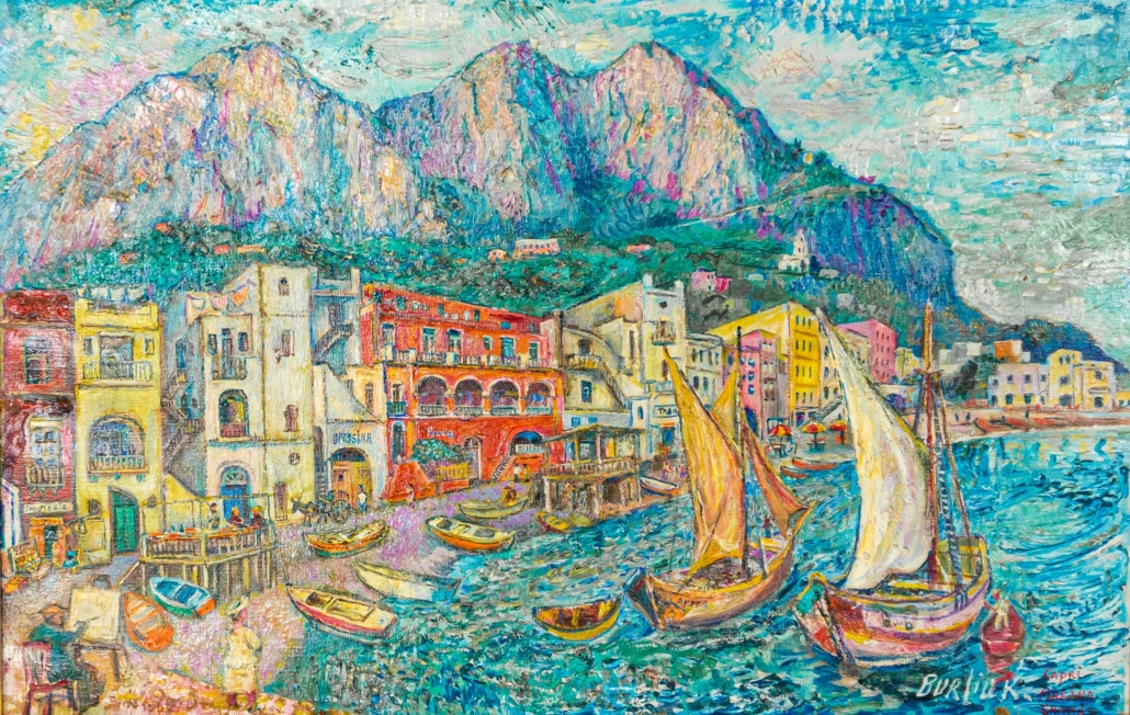 David Burliuk. 'Capri Marina Grande,' est. $3,000-$4,000