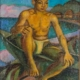David Burliuk oil on burlap portrait of a Japanese fisherman, est. $5,000-$6,000