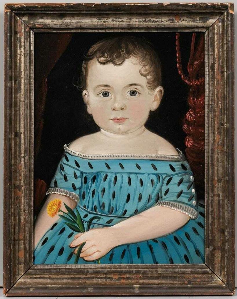 Folk art portrait of a child by William Matthew Prior, $28,750