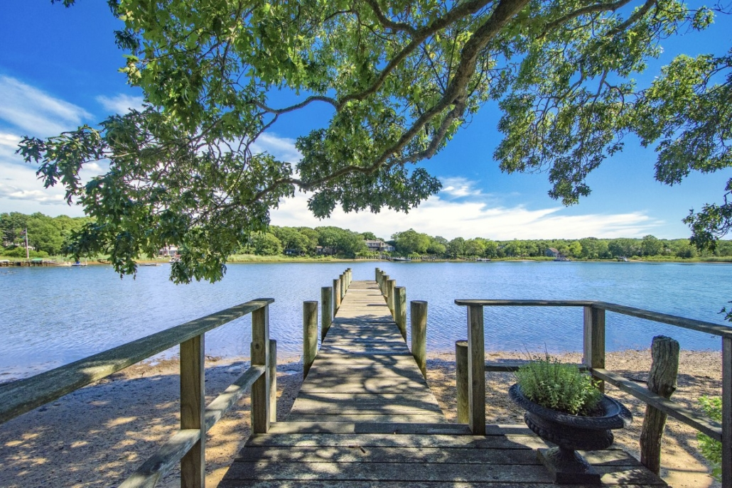 Steinbeck passed many enjoyable hours fishing off the pier at the Sag Harbor home. Photo credit: Richard Taverna for Sotheby's International Realty