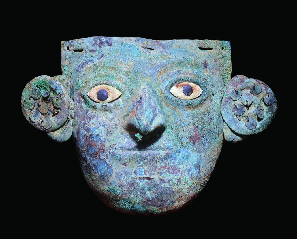 Copper and shell funerary mask, Peru, Moche, 100–800. Museo de Arte de Lima, Peru. Donated by James Reid.