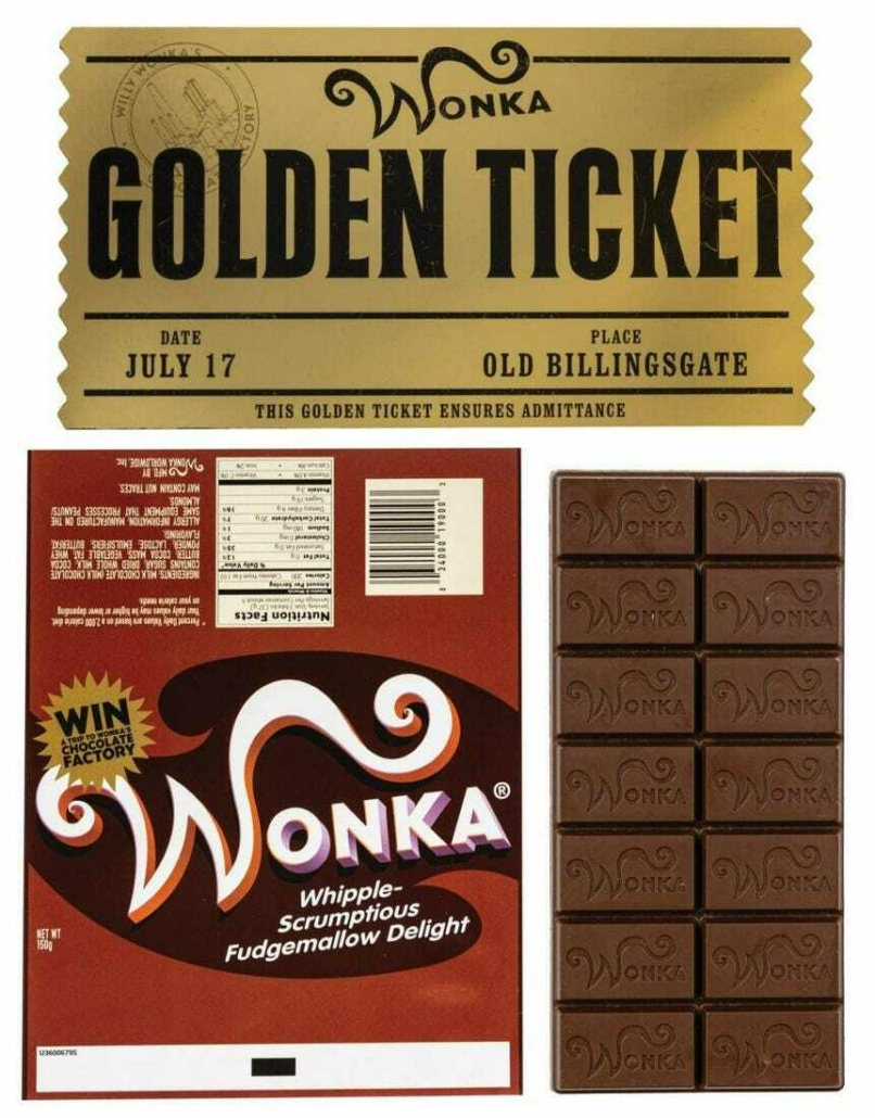 Charlie and the Chocolate Factory Wonka bar props, est. $500-$700