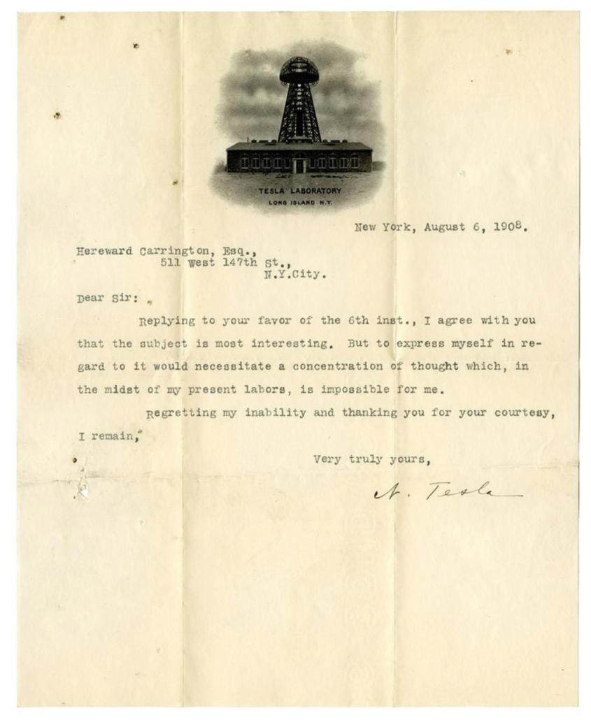 Typed, signed 1908 letter from Nikola Tesla to Hereward Carrington, $10,800