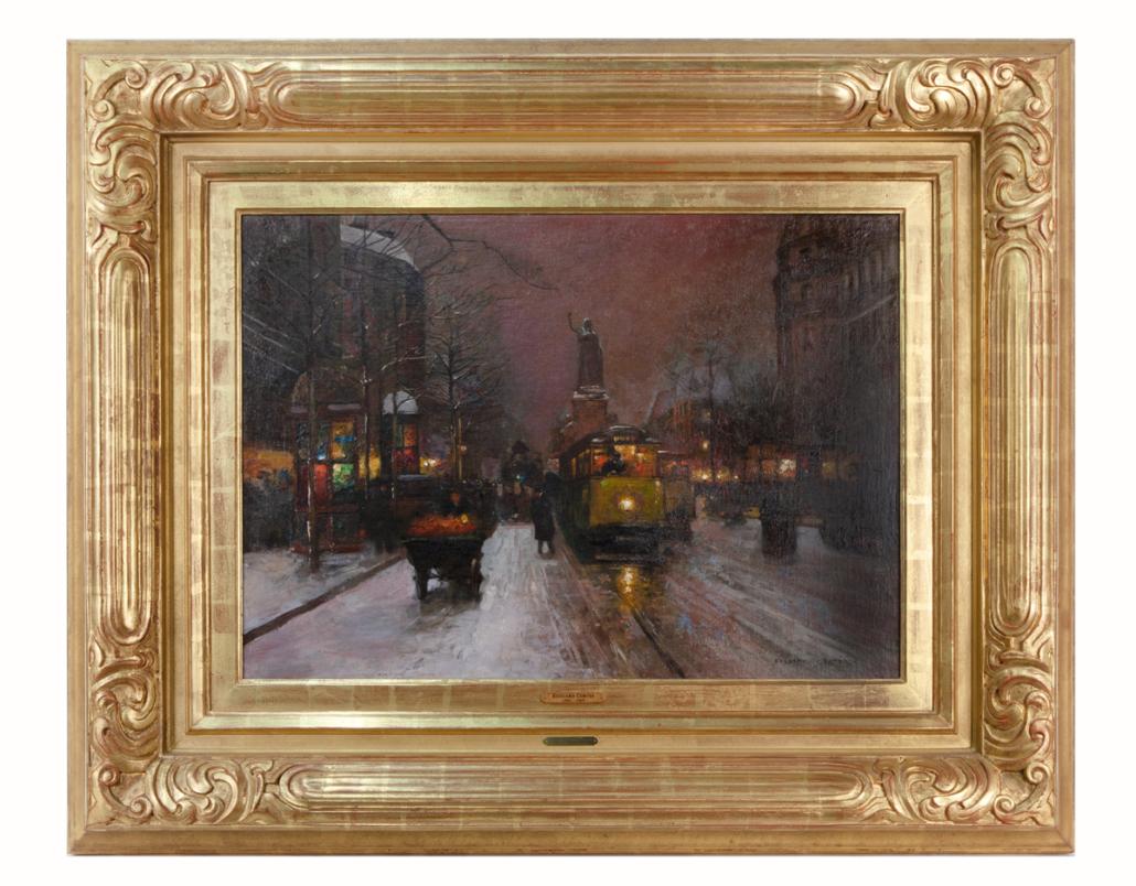 Edouard Cortes Parisian street scene, $93,750
