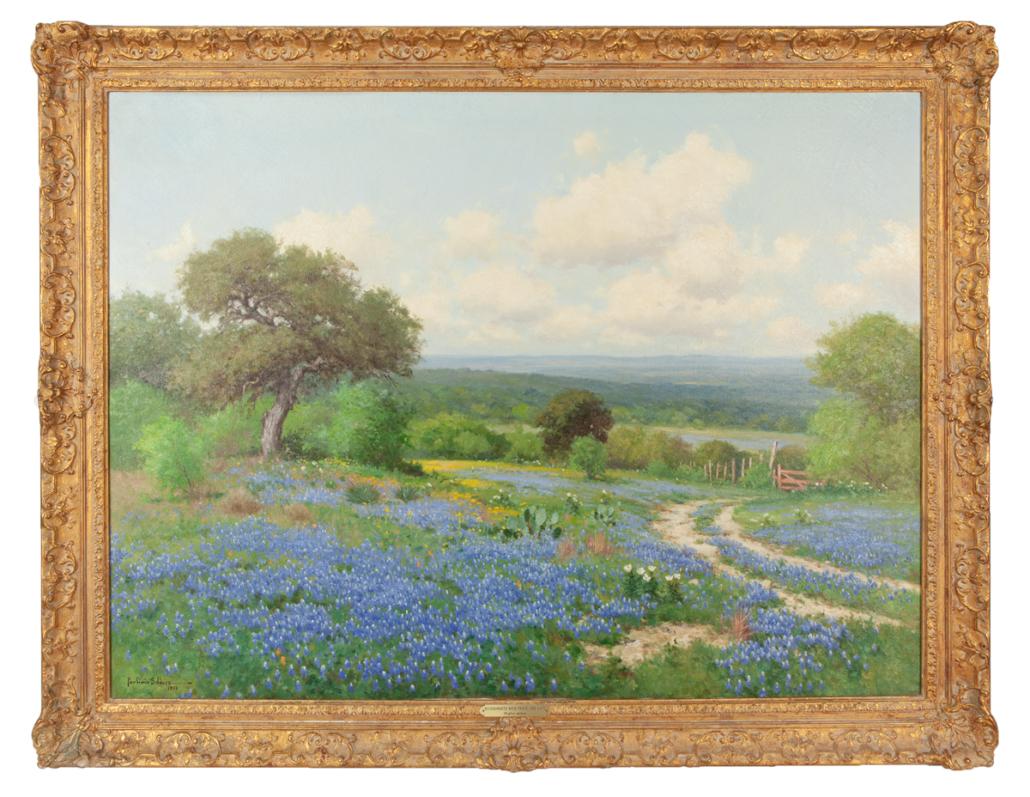 Porfirio Salinas, 'Bluebonnets with Fence and Gate,' $56,250