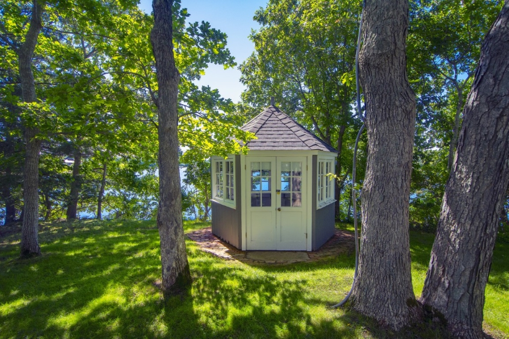 Steinbeck's writing retreat has a peaceful view away from the activity at the cottage. Photo credit: Richard Taverna for Sotheby's International Realty