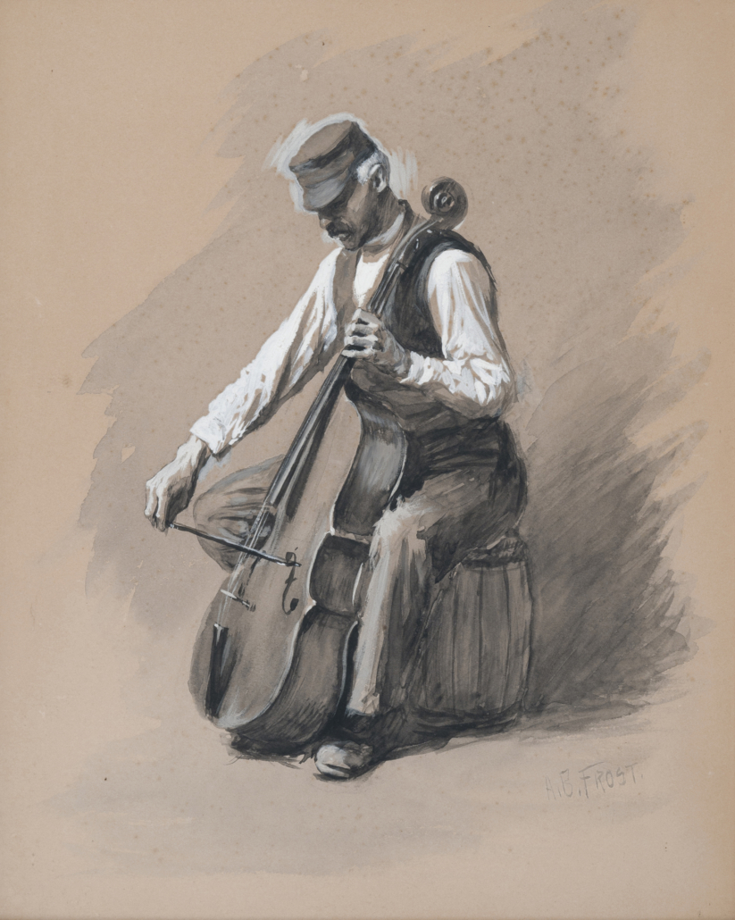 Arthur Burdett Frost, 'The Cellist (Portrait of Antonio Knauth, 1855-1915),' circa 1875. Courtesy of the Chazen Museum of Art at the University of Wisconsin–Madison