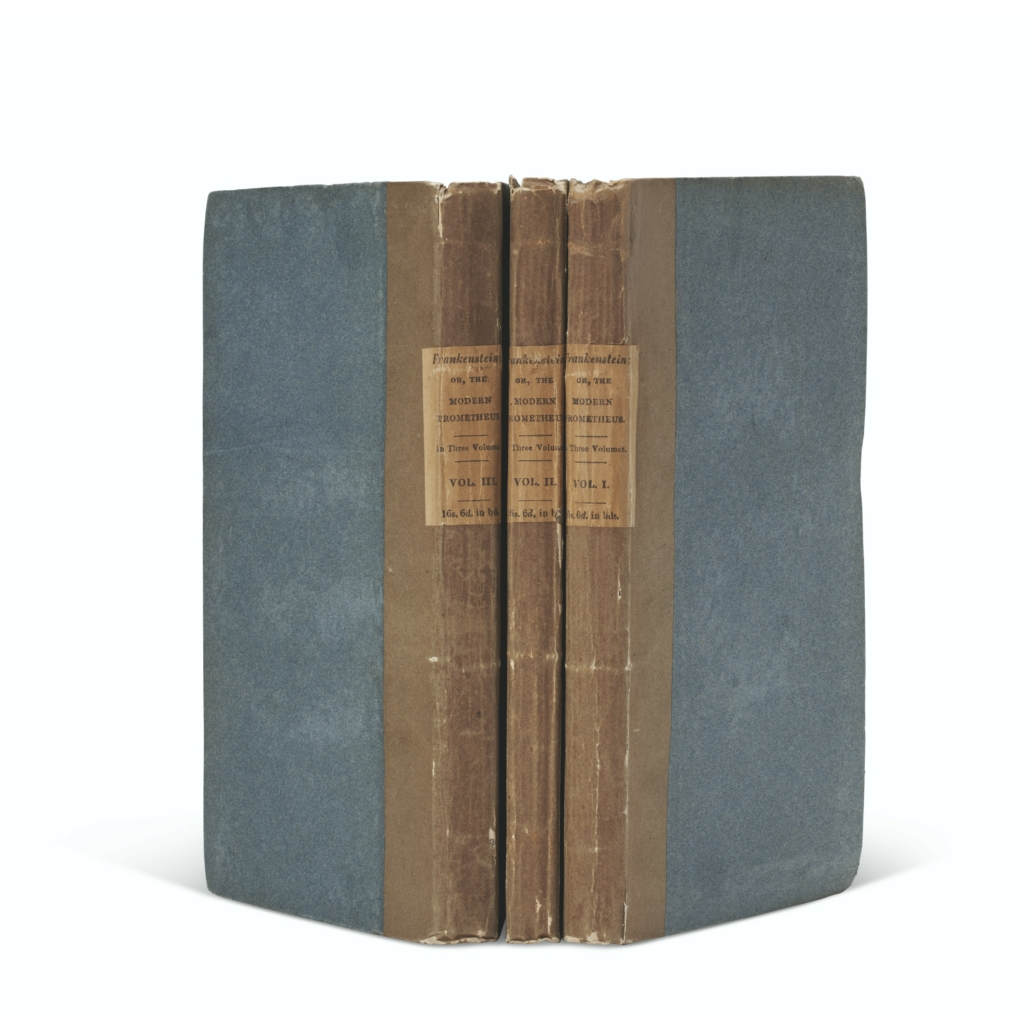 First edition of Mary Shelley's novel, 'Frankenstein: or, The Modern Prometheus,' which sold for $1.1 million against an estimate of $200,000-$300,000. Image courtesy of Christie's Images Ltd