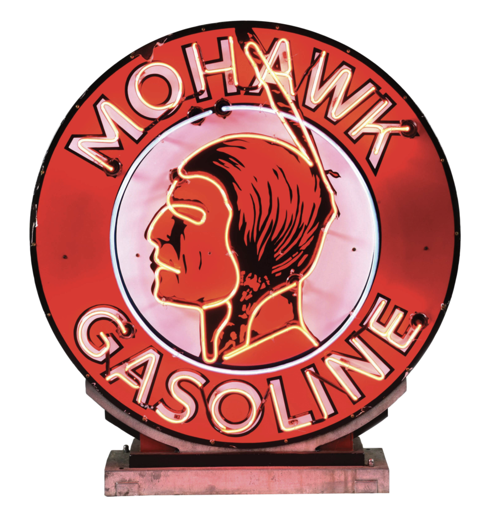 A circa-1930s Mohawk Gasoline porcelain neon sign appeared in an October 2021 auction with an estimate of $80,000-$120,000. Image courtesy of Dan Morphy Auctions and LiveAuctioneers.