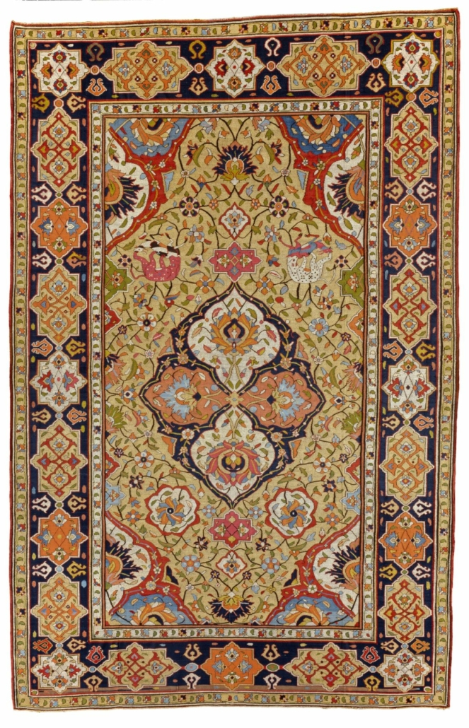 Tapestry-woven medallion rug, early 17th century, Persian, Kashan, Iran, Safavid Dynasty (1501-1722). Silk and silver metallic wrapped thread, 7 feet 11 1/2 inches x 5 feet 1 1/2 inches (242.6 x 156.2 cm). The Nelson-Atkins Museum of Art, Kansas City, Missouri. Purchase: William Rockhill Nelson Trust, 32-70. Photo © 2007 The Nelson Gallery Foundation: Jamison Miller.