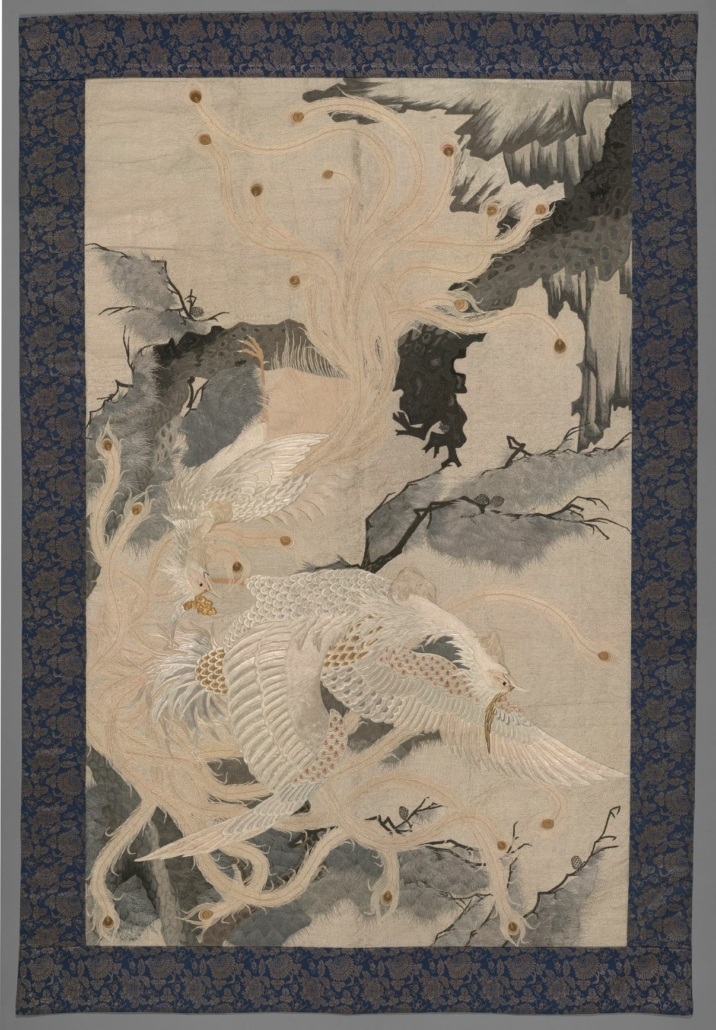 Hanging, Japanese, Late 19th to early 20th century. Silk and gold embroidery. Overall: 83 3/8 x 57 1⁄2 inches. Bequest of Ella C. Loose, 45-70/53. Photo © 2015 The Nelson Gallery Foundation: Matt Pearson.