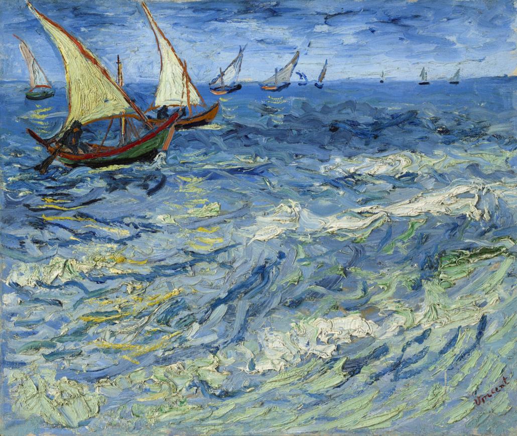 Vincent van Gogh, 'Seascape at Saintes-Maries, Saintes-Maries-de-la-Mer,' 1888. Oil on canvas. 44.5 × 54.5 cm. Pushkin Museum, Moscow