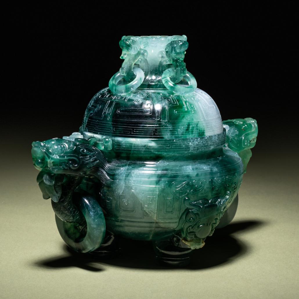 Green jadeite covered incense burner, est. $10,000-$20,000