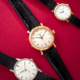 Left to Right: Patek Philippe 18K white gold Ref. 2598 'Calatrava' wristwatch, est. $10,000-$15,000; Patek Philippe, 18K pink gold Ref. 5053 'Officer's' wristwatch, est. $7,000-$9,000; Patek Philippe, 18K yellow gold Ref. 3919 'Calatrava' wristwatch, est. $4,000-$6,000