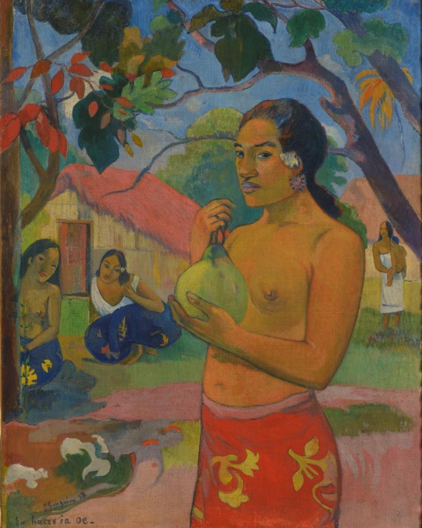 Paul Gauguin, 'Eu haere ia oe (Woman Holding a Fruit); Where Are You Going?,' Tahiti, 1893. Oil on canvas. 92.5 × 73.5 cm. Hermitage Museum, Saint Petersburg