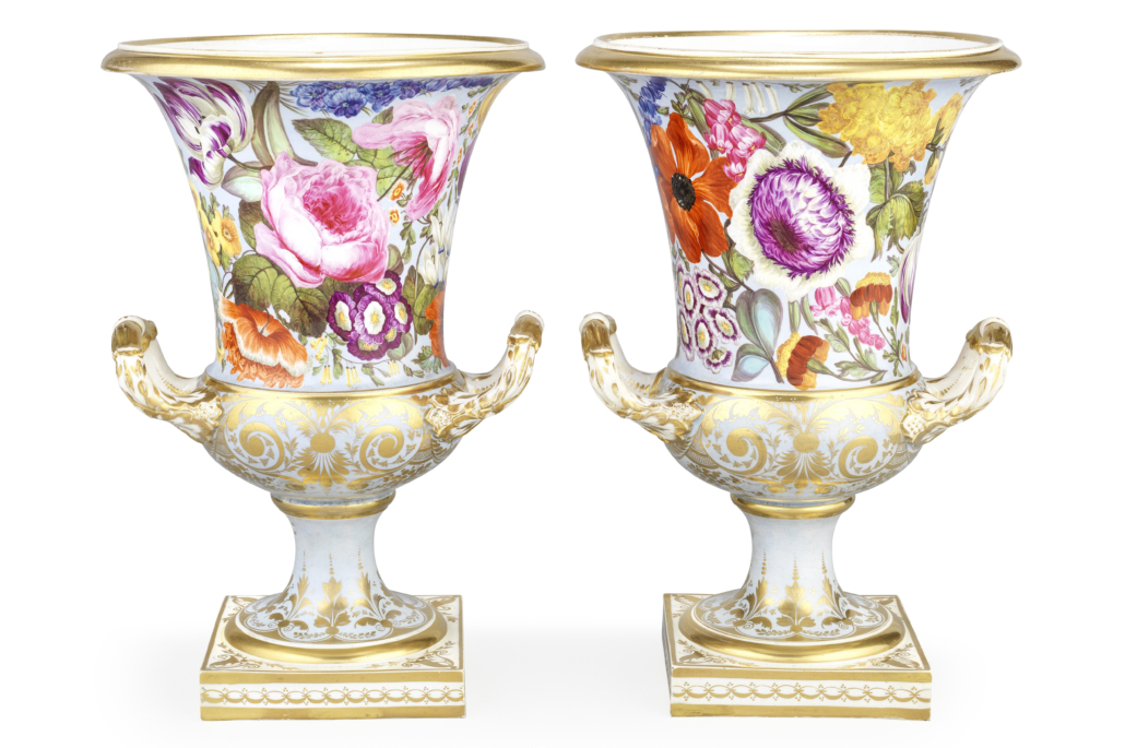 Pair of Derby vases with unusual pale blue ground, est. £7,000-£10,000. Image courtesy of Bonhams