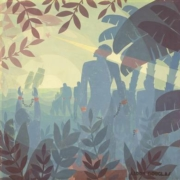 Aaron Douglas, 'Into Bondage,' 1936, oil on canvas, National Gallery of Art, Washington, D.C., Corcoran Collection (museum purchase and partial gift from Thurlow Evans Tibbs, Jr., the Evans‐Tibbs Collection). © 2021 Heirs of Aaron Douglas / Licensed by VAGA at Artists Rights Society (ARS), NY