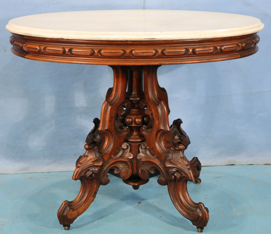 Victorian oval center table by Thomas Brooks, est. $1,200-$2,000